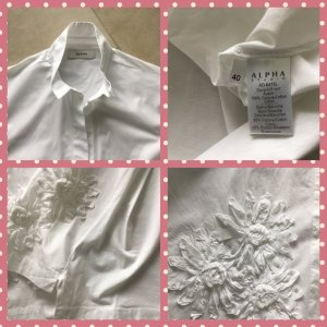 Alpha Long Sleeve Blouse white cotton