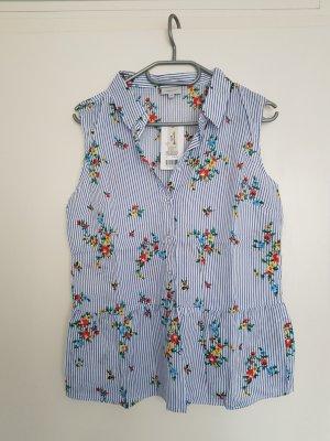 Bexleys Mouwloze blouse wit-blauw