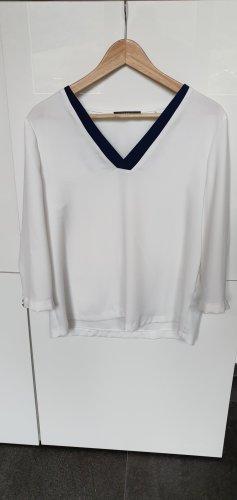 Esprit Camisa con cuello V blanco-azul oscuro