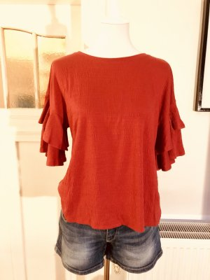 Cable & Gauche Blouse Top brick red