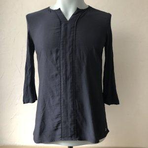 s.Oliver T-shirt col en V bleu foncé tissu mixte