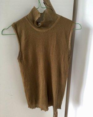 Zara Koszulka z golfem brąz-brązowy