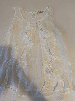 Cream Short Sleeved Blouse white-natural white