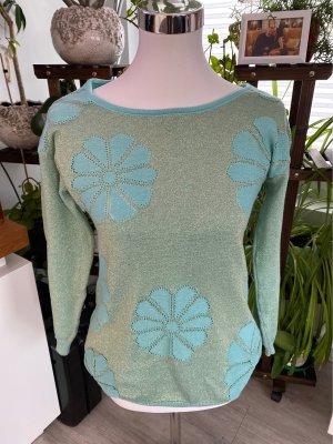 Empiècement de blouses vert menthe-brun sable