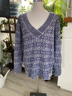 Inserción de blusa blanco-azul oscuro