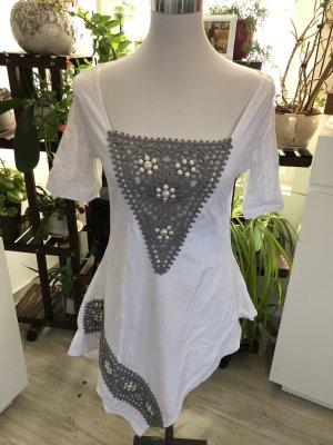 Bluzka typu carmen biały-srebrny