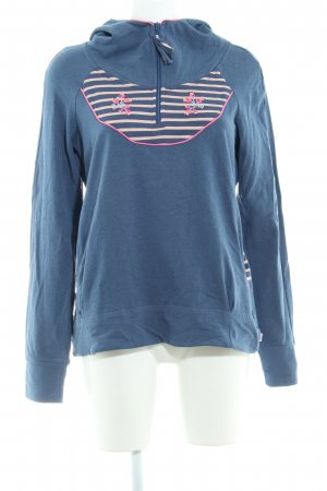 Blutgeschwister Hooded Sweater cornflower blue-pink striped pattern casual look