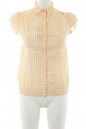 Blutgeschwister Short Sleeved Blouse light orange-white check pattern
