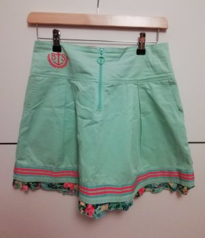 Blutgeschwister Plaid Skirt turquoise-mint cotton