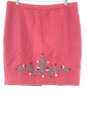Blutgeschwister Gonna di lana rosso chiaro motivo floreale stile classico
