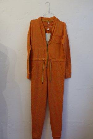 Blutsgeschwister Jumpsuit Onesie Overall Jaquard Neon Orange Ananas Baumwolle S NEU
