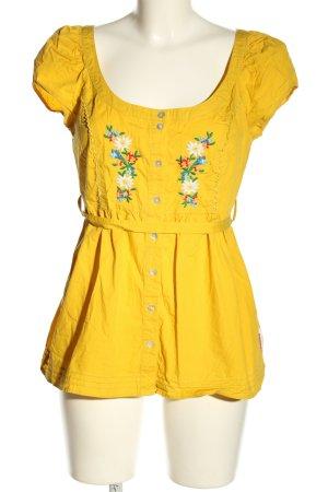Blutsgeschwister Blusa de manga corta amarillo pálido estampado floral