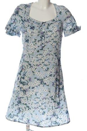 Blutsgeschwister Robe à manches courtes bleu-gris clair motif de fleur