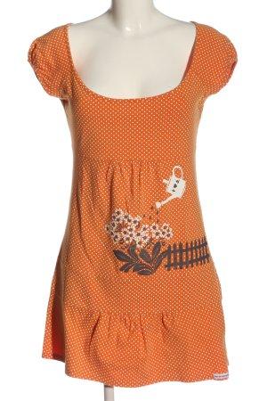 Blutsgeschwister Robe à manches courtes orange clair-blanc imprimé avec thème
