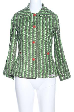 Blutsgeschwister Kurzjacke grün-weiß abstraktes Muster extravaganter Stil