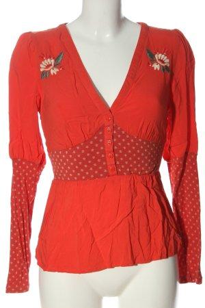Blutsgeschwister Long Sleeve Blouse red flower pattern casual look