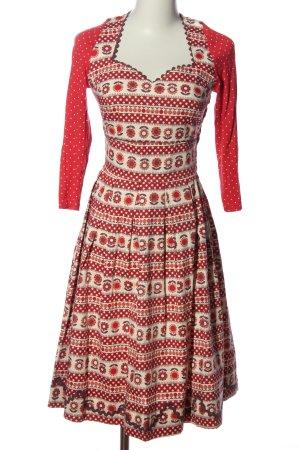 Blutsgeschwister Abito a maniche lunghe rosso-crema motivo floreale stile casual