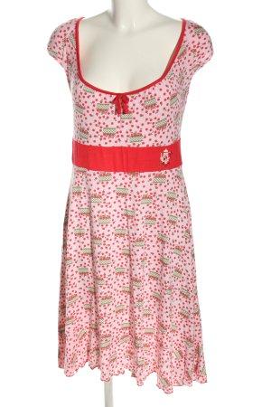 Blutsgeschwister Mini Abito rosa-rosso stampa integrale stile casual
