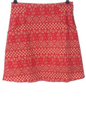 Blutsgeschwister Mini-jupe rouge-blanc cassé imprimé allover élégant