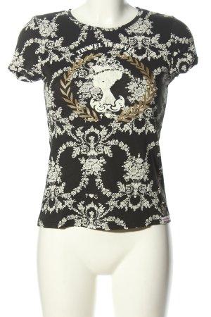 Blutsgeschwister Print-Shirt schwarz-weiß Allover-Druck Casual-Look
