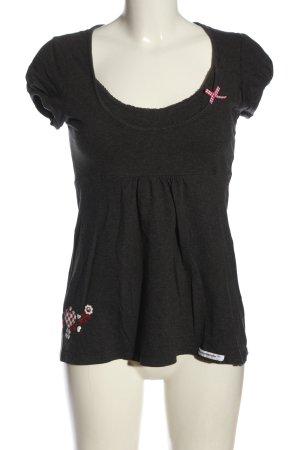 Blutsgeschwister Print-Shirt hellgrau Blumenmuster Casual-Look