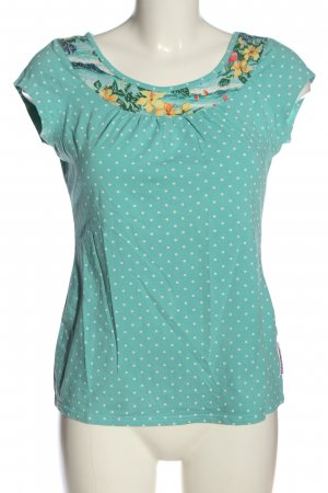 Blutsgeschwister Print-Shirt türkis-weiß Blumenmuster Casual-Look