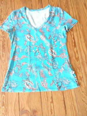 Blutsgeschwister T-shirt col en V turquoise coton