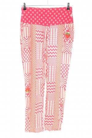 Blutsgeschwister Stoffhose pink-weiß grafisches Muster Casual-Look
