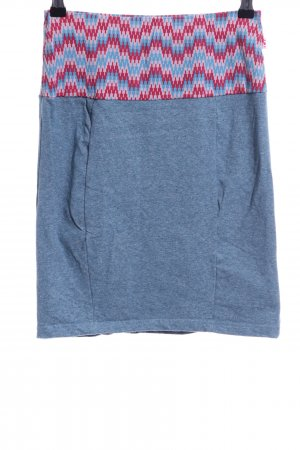 Blutsgeschwister Stretchrock blau-rot grafisches Muster Casual-Look