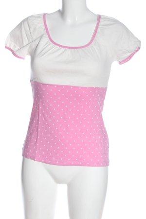 Blutsgeschwister Camisa tejida rosa-blanco estampado a lunares look casual