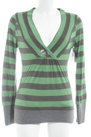 Blutsgeschwister V-Ausschnitt-Pullover grün-graubraun Streifenmuster