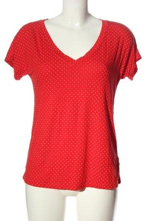 Blutsgeschwister V-Ausschnitt-Shirt rot-weiß Allover-Druck Casual-Look