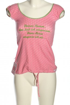 Blutsschwester T-shirt roze-groen volledige print casual uitstraling