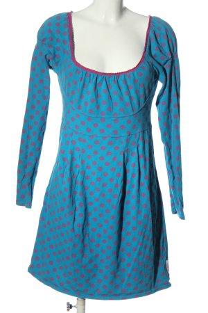 Blutsschwester Jurk met lange mouwen blauw-roze gestippeld patroon