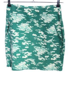 Blutsschwester Mini rok groen-wit volledige print casual uitstraling