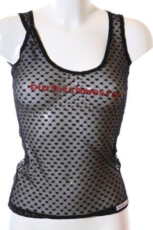 Blutsschwester Netzshirt schwarz-rot Schriftzug gedruckt extravaganter Stil