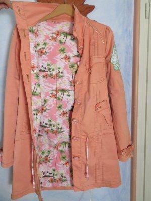 Blutsschwester Parka Mantel Pastell Apricot Hawaii Muster Floral Gr. M 38 Schwän Fränziska
