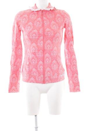 Blutsschwester Sportjacke pink-weiß Allover-Druck Casual-Look