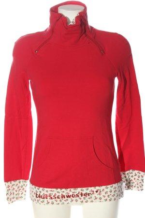 Blutsschwester Sweatshirt rood-wolwit bloemenprint casual uitstraling