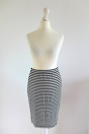 Bobby & Olive Pencil Skirt Rock schwarz weiß gestreift Gr. 2 S 36/38