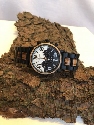 Analog Watch anthracite-brown wood