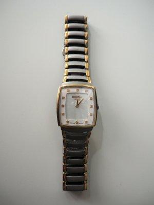 Boccia Zegarek z metalowym paskiem jasnoszary-piaskowy brąz