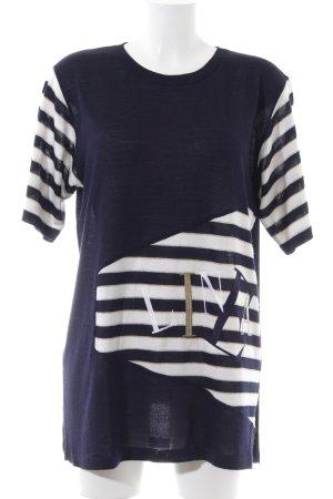 Bode Strickshirt blau-weiß Schriftzug gedruckt Casual-Look