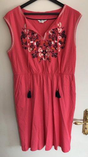 Boden Catriona Sommer Kleid Stickerei Erdbeereis-Rosa Pink 44 Langgröße XXL Neu