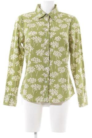 Boden Hemd-Bluse grün-wollweiß Blumenmuster Casual-Look