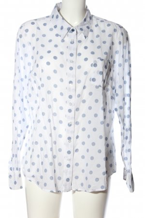 Boden Hemd-Bluse weiß-blau Allover-Druck Business-Look