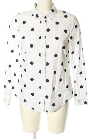 Boden Hemd-Bluse weiß-blau Punktemuster Casual-Look