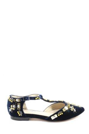 Boden Klassische Ballerinas blau-goldfarben Blumenmuster extravaganter Stil