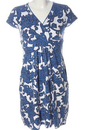 Boden Kurzarmkleid blau-weiß abstraktes Muster Casual-Look