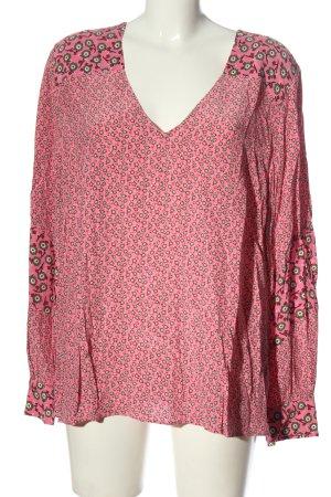 Boden Blouse met lange mouwen roze-khaki volledige print casual uitstraling